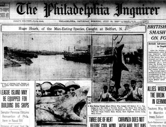 Première page du Philadelphia Inquirer, le 15 juillet 1916, suite aux attaques de requins