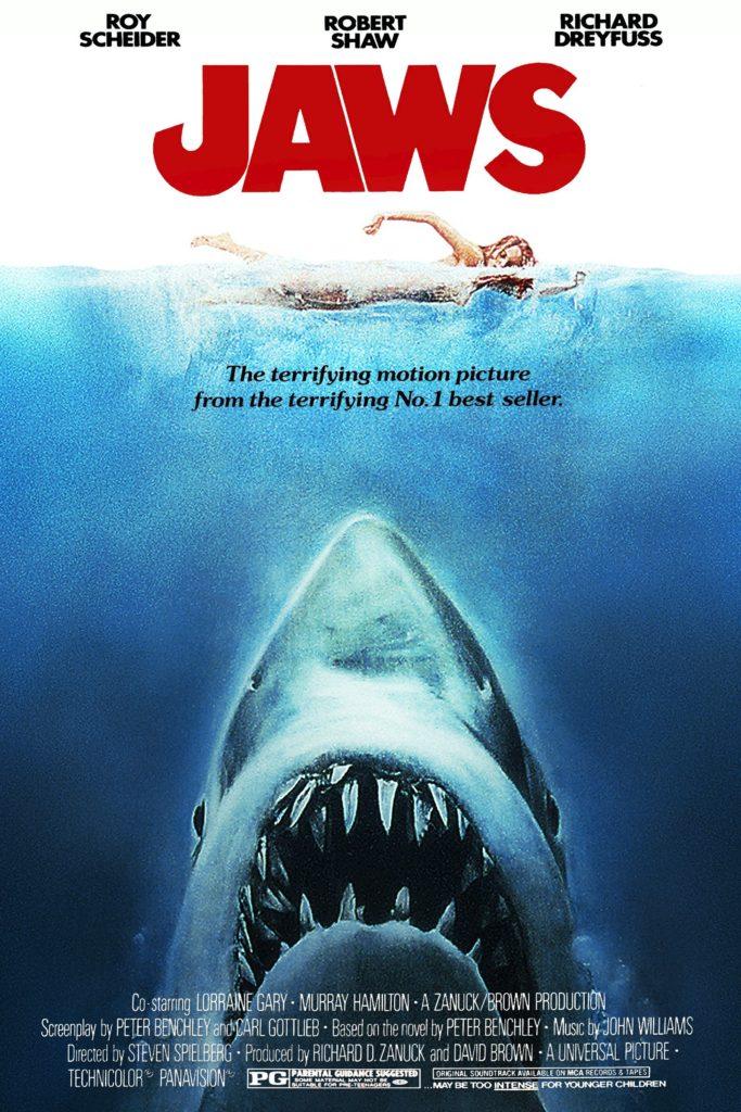 Affiche du film les Dents de la Mer, attaques de requins sur une nageuse